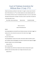 Court of Orphans Inventory for William Rose 13 July 1711